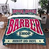 Bedsure Funda Nórdica,Barber Shop Hipster Corte de Pelo y Afeitado Vintage Sign,Fundas Edredón 220 x 240 cmcon 1 Funda de Almohada 40x75cm