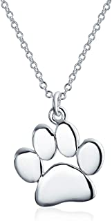 Dainty Dog Cat Pet Kitten Puppy Paw Print Pendant Necklace Animal Jewelry For Women Teen Polished Rose Yellow Gold Plated ...