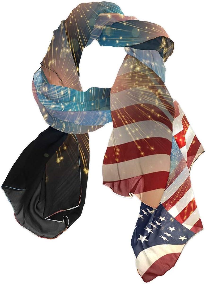 AUUXVA Fashion Scarf American Flag Stripe Star Firework Long Lightweight Sunscreen Scarf Shawl Wrap Muffler Neckerchief for Women Men
