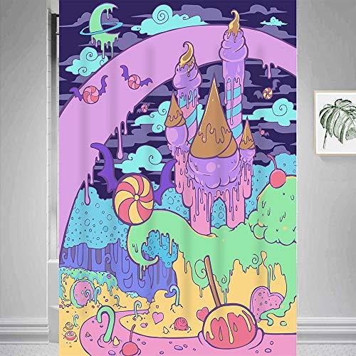 Gdmoon Candy Castle Duschvorhang Lollipop Mond Sterne Fantasy Galaxie Zauberwald Kinder Cartoon Dessert Hütte Kunst bunt abstrakt Badezimmer Vorhang-Set mit 12 Haken 121 x 183 cm YLWHGD1314