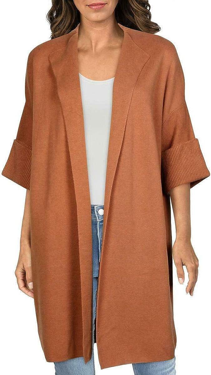 Alfani Womens Brown Solid 3/4 Sleeve Open Cardigan Sweater Size XL
