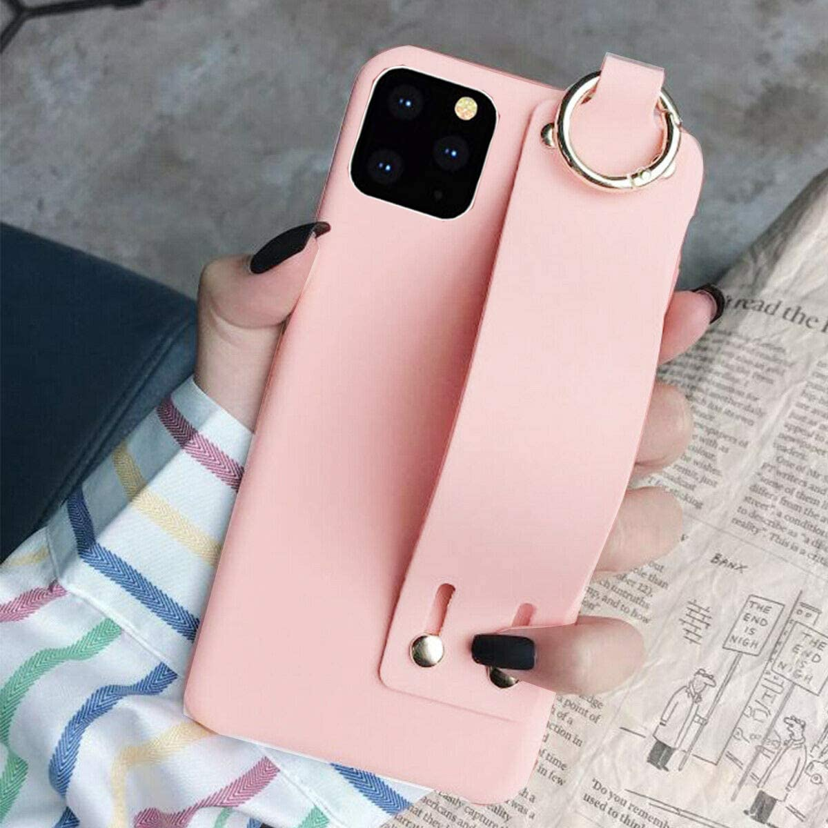Topwin Hand Strap Case Compatible with iPhone 11 Pro Max, Soft Gel Rubber with Adjustable Wrist Strap Handy Belt Loop Kickstand Viewing Stand Feature for Apple iPhone 11 Pro Max 6.5'' 2019 (Pink)
