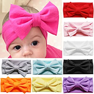 Cute Baby Toddler Solid Candy Color Bowknot Bow Stretch Headband Hair Band Accessory(White)