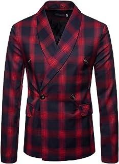 QZH.DUAO Men's Plaid Striped Blazer Jacket