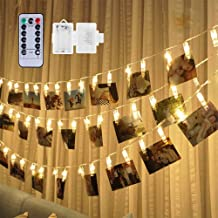 Weepong 50 LED Photo Clips String Lights Holder, Picture Hanging Lights with Remote and Timer 17.3ft Battery Powered Fairy...