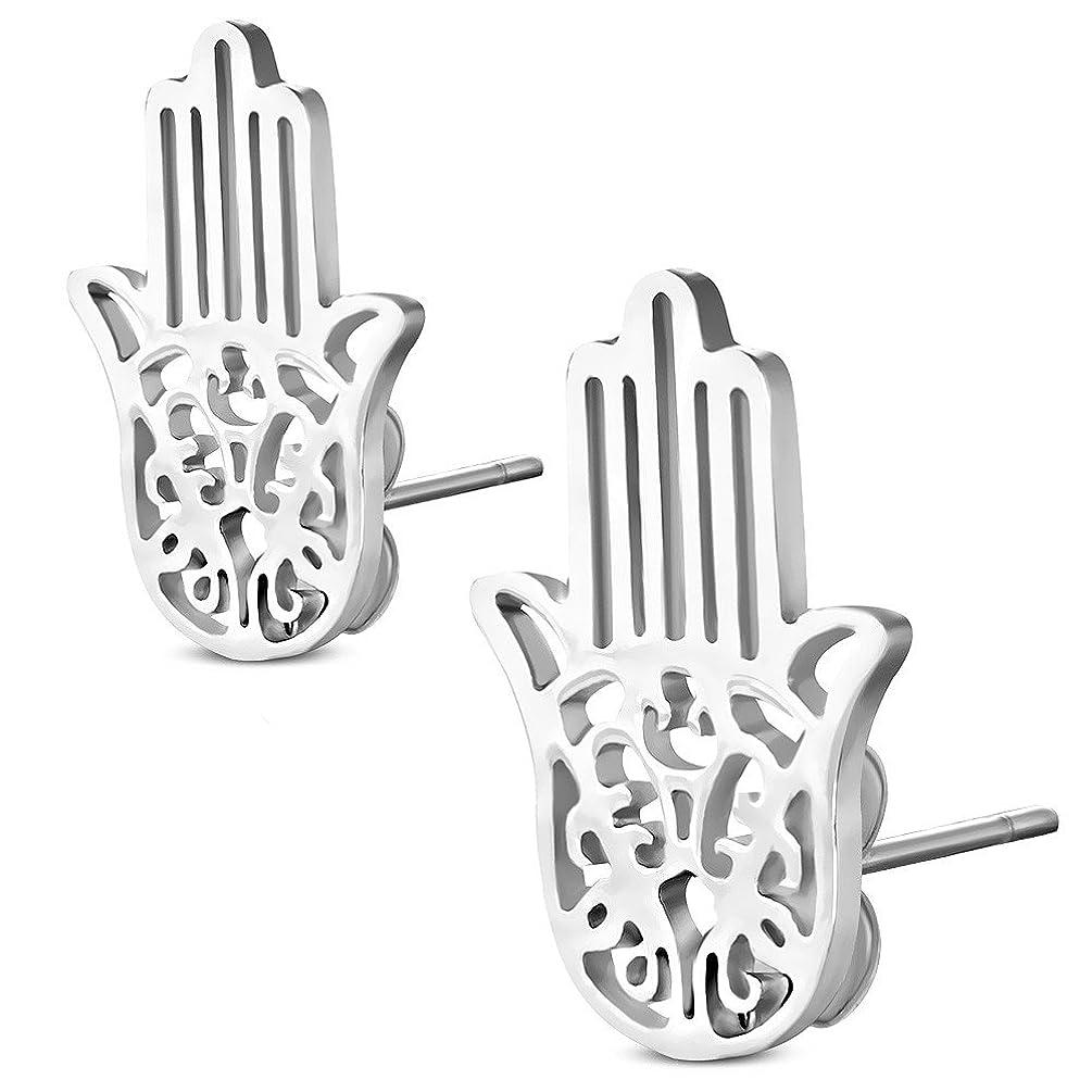 Stainless Steel Silver-Tone Hamsa Hand Womens Stud Earrings