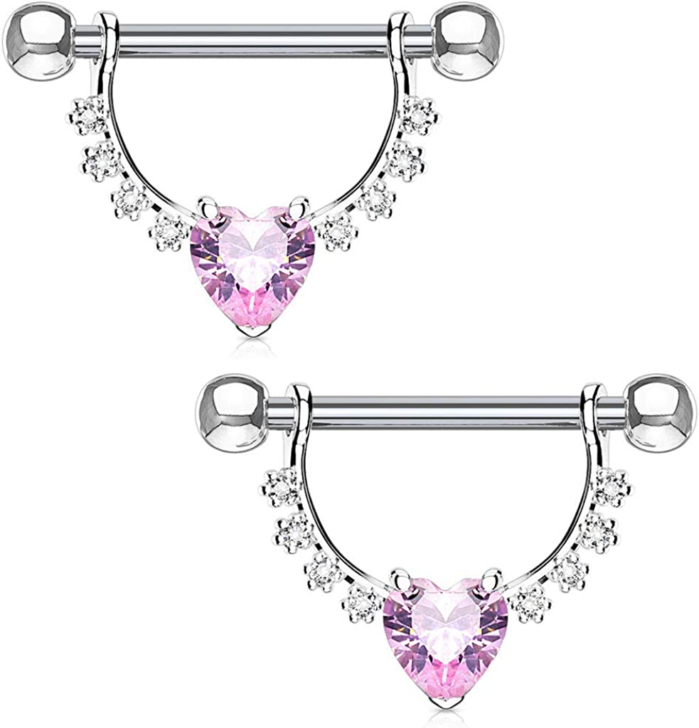 Dynamique Heart CZ Center with Lined Prong Set CZs Dangle 316L Surgical Steel Nipple Ring
