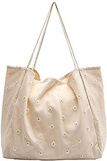 Funtlend Damen Canvas Umhängetasche Damen Groß Handtasche Einkaufstasche Taschen Damen Shopper für Uni Einakuf Shopper