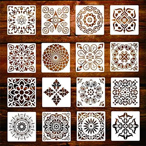 Juego de 16 plantillas reutilizables de mandalas, plantillas artísticas para pintar, decorar paredes, muebles, suelo, ventana, piedras, tejidos, azulejos y álbum de recortes