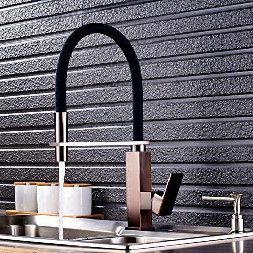Llegada Base de bronce frotada con aceite rojo con manguera negra Nueve grifos de cocina modelo