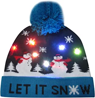 YESWOMAN Merry Christmas Knit Hat Colorful LED Light-up Cap Beanie Hairball Warm Cap Gifts for Children