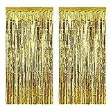Aniyoo Cortinas de aluminio de 2 unidades de cortinas metálicas de espumillón de 1 m x 3 m con flecos para cumpleaños, bodas, fiestas, Halloween, Navidad, decoración de ventanas (dorado)
