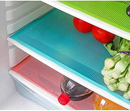 Dewberries PVC 6 Piece Fridge Mats/Drawer Mats Set (Multicolor)