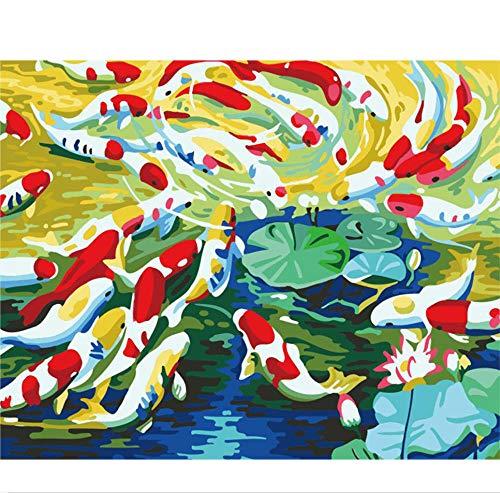 YHZY Molti Pesci Scuola di Pesce Animale Pittura Digitale Fai-da-Te dai Numeri Arte Moderna della Parete Pittura su Tela Regalo Decorazioni per La Casa 40X50Cm