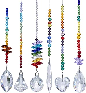 Best H&D HYALINE & DORA Colorful Crystals Glass Pendants Chandelier Suncatchers Prisms Hanging Ornament Octogon Chakra Crystal Pendants for Home,Office,Garden Decoration,Pack of 6 Review