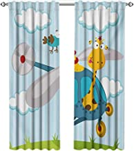 shenglv Nursery, Curtains to Keep Out Heat, Funny Giraffe and Bird on Helicopter Fluffy Clouds Grass Adventure Journey, Curtains for Bedroom, W84 x L96 Inch, Blue Yellow Green