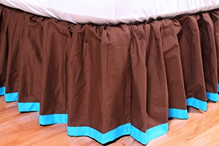 Valley of Flowers Brown with Turquoise Band Full Bed skirt