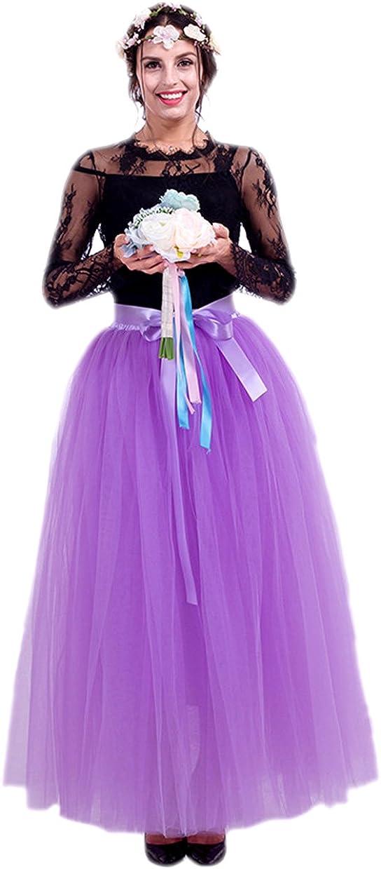 URVIP Women's Tulle Skirt 5-Layer Princess Dresses Long Petticoat Ballet Skirt Maxi Underskirt Pettiskirt