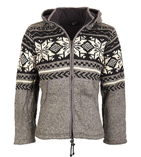 KUNST UND MAGIE Strickjacke Snowboard-Jacke nordisch mit Fleecefutter, Größe/Size:XS;Farbe:Grau