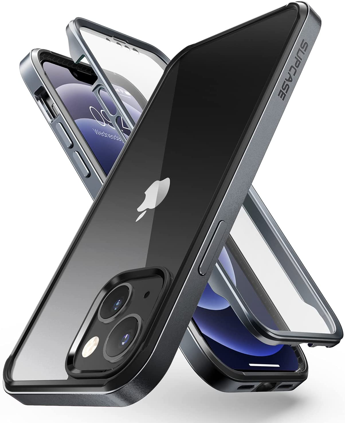 SUPCASE UB Edge Pro Series Case for iPhone 13 (2021 Release) 6.1 Inch, Slim Frame Clear Protective Case with Built-in Screen Protector (Black)