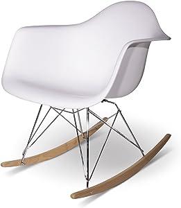 ARYANA HOME - Sedia a Dondolo Replica Eames Bianco