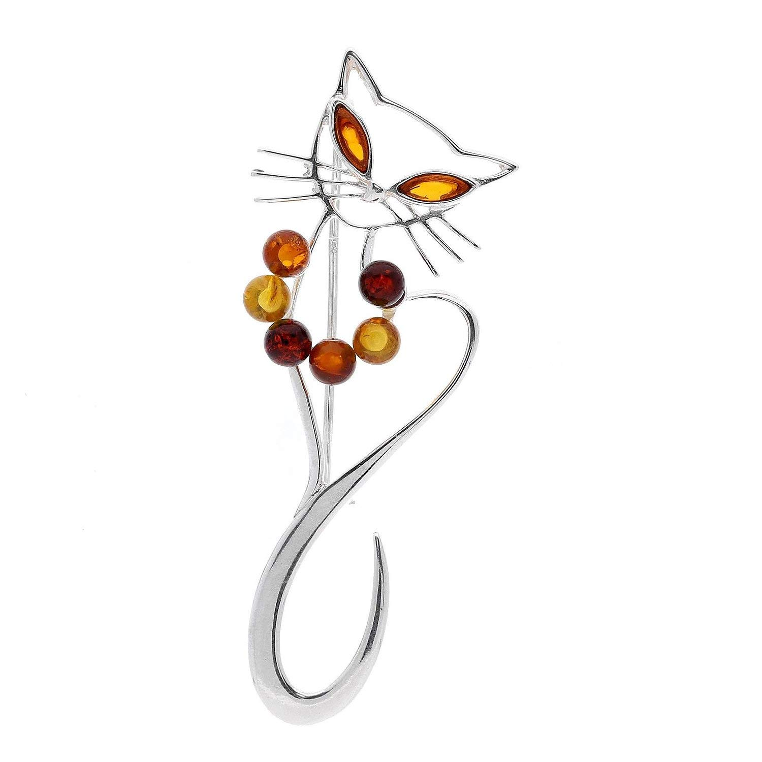 925 Sterling Silver Animal Themed Amber Brooch Pin//Clip for Women Choose From 12 Different Styles