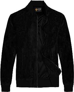 Mens Suede Leather Jacquard Floral Bomber Varsity Baseball Jacket Coat