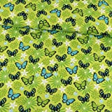 Baumwolljersey Schmetterlinge grün blau Kinderstoffe -