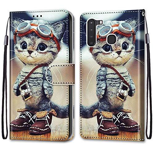 Nadoli Handyhülle Leder für Samsung Galaxy A21,Bunt Bemalt Lustig Leder Schuhe Katze Trageschlaufe Kartenfach Magnet Ständer Schutzhülle Brieftasche Ledertasche Tasche Etui