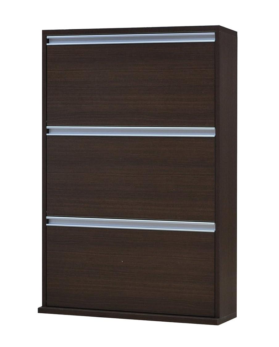高い工場親協栄産業 薄型木製シューズボックス 3段 幅70cm MK703 ブラウン