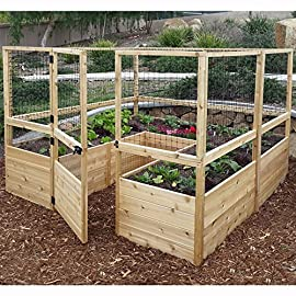 Square raised garden with deer fence kit 2 assembled dimension 95 in. W x 92 in. D x 67 in. H