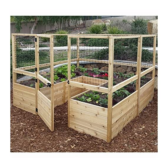 Square Raised Garden with Deer Fence Kit 1
