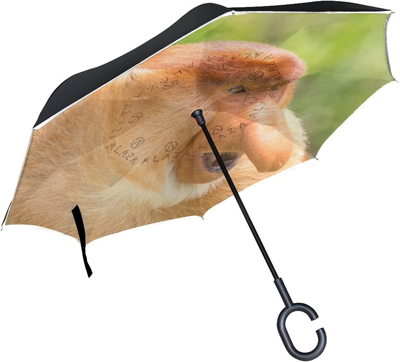 Animal Monkey Proboscis Adorable Little Pet Cute Wild Darkbrown Ingreened Umbrella Large Double Layer Outdoor Rain Sun Car Reversible Umbrella