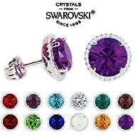 Glimmering Swarovski Crystals - World's Most Sparkling: Nickel Free Stud Earrings - Birthstones |...