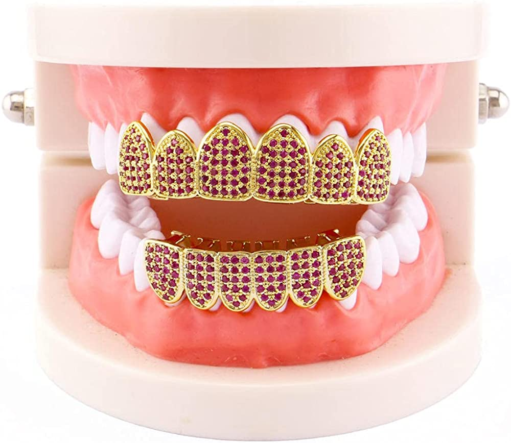 Hip Hop Teeth 18k electroplated real gold micro-inlaid 4A zircon hip-hop braces with diamonds and gold teeth for men and women accessories