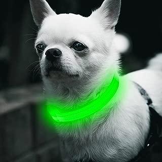 BSEEN LED Dog Collar, LED Dog Leash, USB Rechargeable Glowing Safety Dog Collar Light Up Adjustable Nylon Webbing Reflective Pet Dog Collar Leash for Dog & Cat