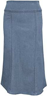 Baby'O Women's Stretch Denim Below The Knee Length Panel Skirt