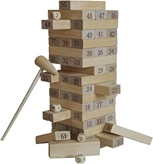 Xiosag 51 Pieces Wooden No Paint Tumble Tower Stacking Game