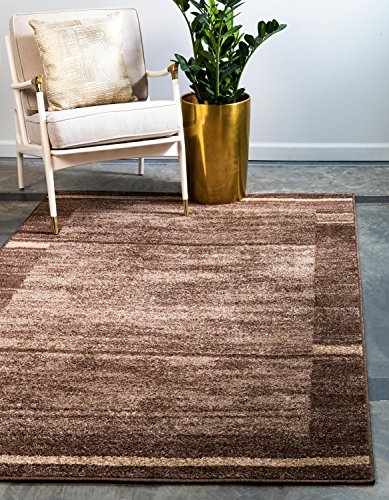 Unique Loom Autumn Collection Casual Border Rustic Warm Toned Brown Area Rug (5' 0 x 8' 0)