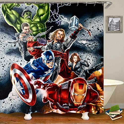 Lily & her Friends – Cartoon Anime Marvel Heroes Hulk Batman Spiderman Deadpool Avengers 3D Serie Wasserdichter Duschvorhang mit 12 Aufhängungsringen, Vorhang für Badezimmer - Avengers, 180cm x 180cm