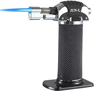 JUN_L Metal Flame Gun Welding Gas Torch Lighter Heating Lgnition Butane Portable Camping Welding Gas Torch for crème brûlée Outdoor BBQ (Silver)