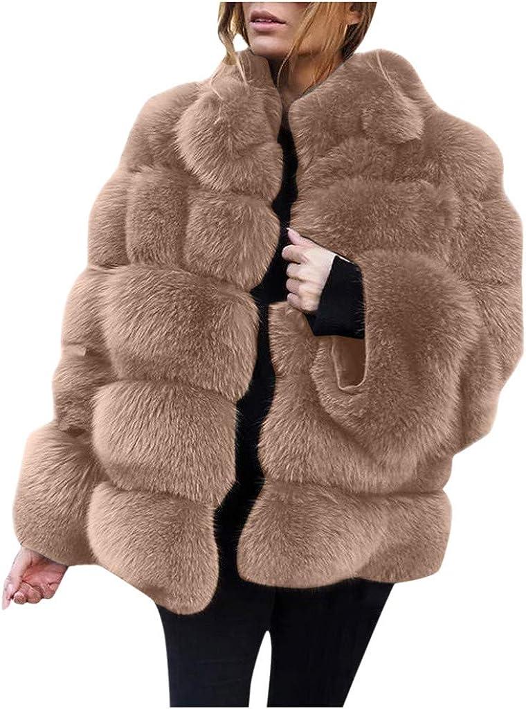 HDGTSA Womens Women Plus Size Short Faux Fur Coat Warm Furry Faux Long Jacket Sleeve Outerwear