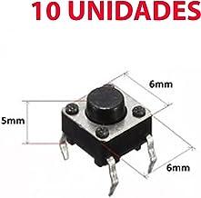 Gaoominy 10pzs 6x6x7.5mm 4 Pines Interruptor de boton pulsador de tacto tactil momentaneo de PCB DIP