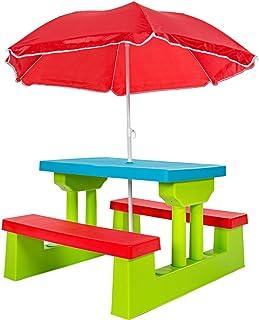 comprar comparacion TecTake Conjunto de Mesa y Bancos para niños Asientos sillas sombrilla Juego Infantil