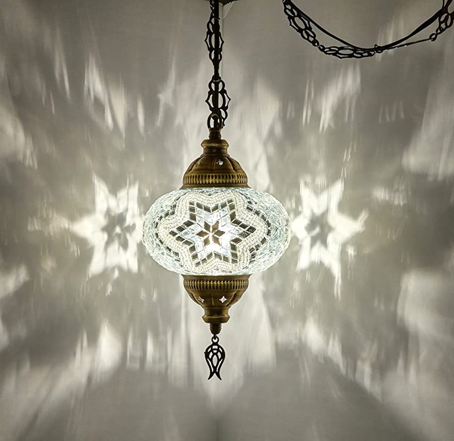 (8 Colors) DEMMEX Turkish Moroccan Mosaic Swag Plug in Pendant Ceiling Hanging Light with 15feet Cord Decorated Chain & North American Plug (White - 6