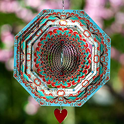 SteadyDoggie Wind Spinner Mandala Mystique 30cm (12inches) – 3D Stainless Steel – Laser Cut Metal Art Geometric Pattern - Hanging Wind Spinner, Kinetic Yard Art Decorations - Indoor/Outdoor Decor
