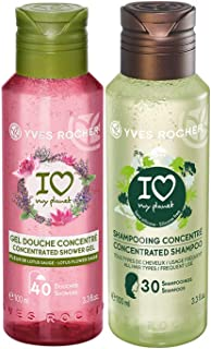 Yves Rocher Eco Shampoo Concentrated I Love My Planet 100 ml./3.3 fl.oz. + Yves Rocher Les Plaisirs Nature Concentrated Shower Gel Lotus Flower Sage, 100 ml./3.3 fl.oz.