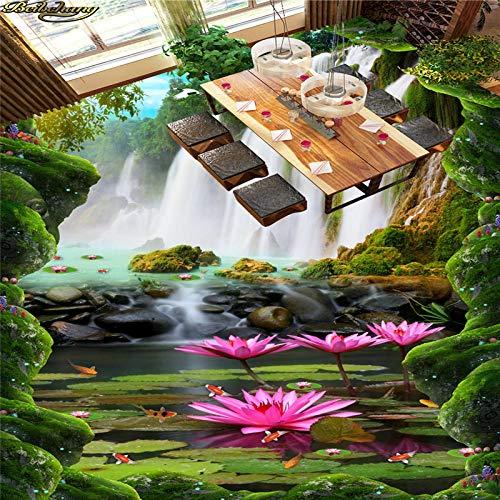 Gepersonaliseerd fotobehang met foto-stickers voor schilderen op de vloer waterval Lotus Carp River Bad keuken 3D Piano 400 x 280 cm