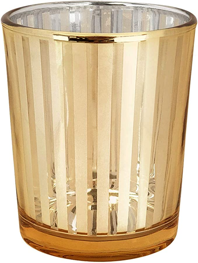Just Artifacts Glass Votive Candle Holders 2 75 H Striped Gold Set Of 12 Glass Votive Candle Holders For Weddings And Home Décor Amazon Co Uk Kitchen Home