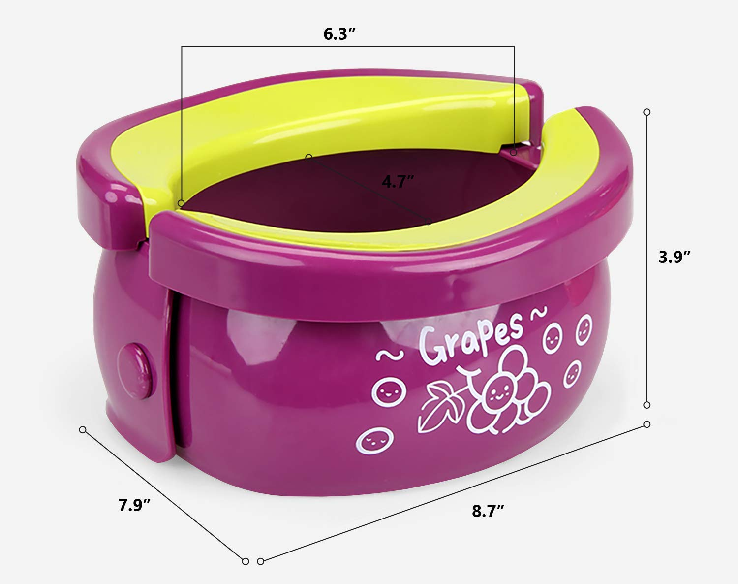 Portable Potty 2-in-1 Travel Toilet Seat & Compact Potty Trainer for Baby, Toddlers & Kids with Splash Guard & Potty Liners (Grape)